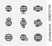 set of nine globe icons ... | Shutterstock .eps vector #208872739