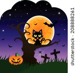 halloween card with black cat... | Shutterstock .eps vector #208888261