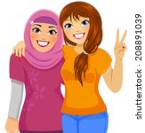 muslim girl and caucasian girl... | Shutterstock .eps vector #208891039
