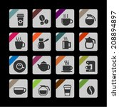 coffee icon set | Shutterstock .eps vector #208894897