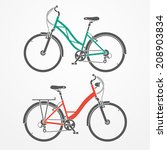 two flat looking city bicycles... | Shutterstock .eps vector #208903834