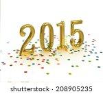 gold year 2015 on white... | Shutterstock . vector #208905235