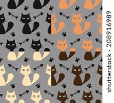 seamless cats background vector | Shutterstock .eps vector #208916989