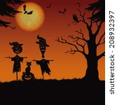 halloween cartoon landscape... | Shutterstock .eps vector #208932397