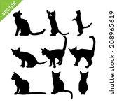 cat silhouettes vector | Shutterstock .eps vector #208965619