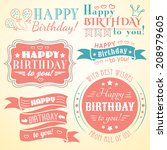 happy birthday greeting card... | Shutterstock .eps vector #208979605