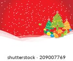 christmas tree with balloons on ... | Shutterstock .eps vector #209007769