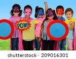 group of children who are... | Shutterstock . vector #209016301