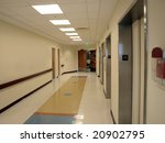Hospital Hallway and elevator entrance - stock photo