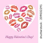 lip prints on the background... | Shutterstock .eps vector #209032291