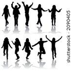 vector silhouettes dancing man... | Shutterstock .eps vector #2090405