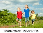 happy brother and sisters... | Shutterstock . vector #209040745
