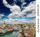 the aerial view of zurich...   Shutterstock . vector #20904130