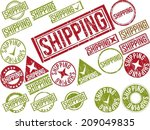 "Collection of 22 red grunge rubber stamps with text ""SHIPPING"" . Vector illustration"