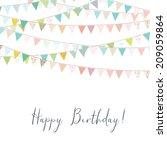cute happy birthday card... | Shutterstock . vector #209059864