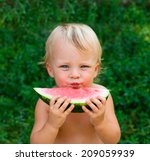cute boy looking to you and... | Shutterstock . vector #209059939