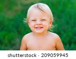 cute boy looking to you and... | Shutterstock . vector #209059945