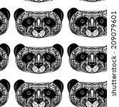 panda on white background hand... | Shutterstock . vector #209079601