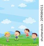 illustration of kids playing... | Shutterstock .eps vector #209084311