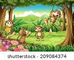 Illustration Of Monkeys Playin...