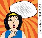 Woman Shock With Comic Speech...