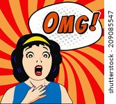 woman say omg  with comic... | Shutterstock .eps vector #209085547