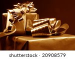 three gift boxes on dark... | Shutterstock . vector #20908579