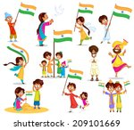 indian kid with flag of india... | Shutterstock .eps vector #209101669