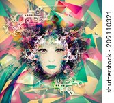 virtual pretty woman | Shutterstock . vector #209110321