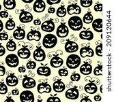 hand drawn halloween seamless... | Shutterstock .eps vector #209120644