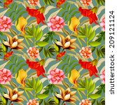 seamless tropical flower  plant ... | Shutterstock . vector #209121124
