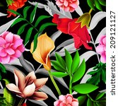 seamless tropical flower  plant ... | Shutterstock . vector #209121127