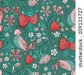 seamless pattern with birds ... | Shutterstock .eps vector #209121727