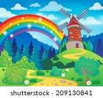 spring theme with windmill  ... | Shutterstock .eps vector #209130841
