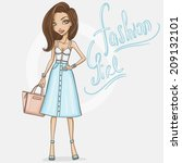 fashion girl in stylish outfit | Shutterstock .eps vector #209132101