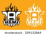V8 Hemi engine emblem with flames and HEMI banner. Includes clean and grunge versions. - stock vector