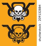 V8 Engine Vector Emblem With...