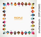 a big group of top view people... | Shutterstock .eps vector #209143681