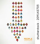 a big group of top view people... | Shutterstock .eps vector #209143705