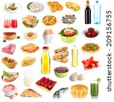 food and drinks collage... | Shutterstock . vector #209156755