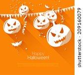 halloween greeting card   flat... | Shutterstock .eps vector #209160079