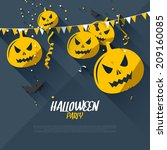 halloween party poster   flat... | Shutterstock .eps vector #209160085