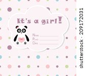 baby girl arrival card. baby... | Shutterstock .eps vector #209172031