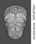 human skull made of flowers ... | Shutterstock .eps vector #209187061