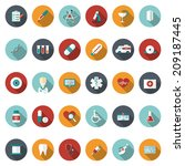 set of flat medical icons.... | Shutterstock .eps vector #209187445