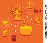 halloween flat infographic | Shutterstock .eps vector #209196925