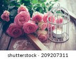 Bouquet Of Pink Roses  Wooden...
