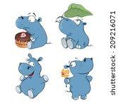 A Set Of Hippopotamuses Cartoon