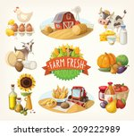 set of illustrations with farm... | Shutterstock .eps vector #209222989