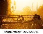Combiner Harvesting Wheat Fiel...